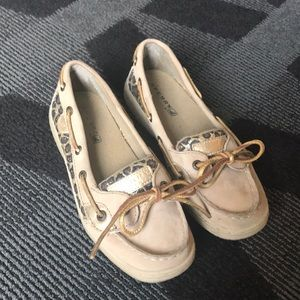 Sperry sparkly cheetah shoes size 2
